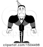 Clipart Of A Black And White Sad Buff African American Party Man Royalty Free Vector Illustration