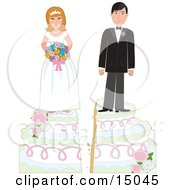 Young Bride And Groom On Top Of A Wedding Cake Split By Irreconcilable Differences Symbolizing Divorce Marital Problems Counseling Or Separation