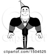 Clipart Of A Black And White Happy Buff African American Party Man Royalty Free Vector Illustration