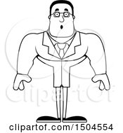 Clipart Of A Black And White Surprised Buff African American Male Scientist Royalty Free Vector Illustration