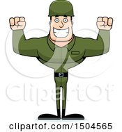 Poster, Art Print Of Cheering Buff Caucasian Male Army Soldier