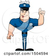Clipart Of A Buff Caucasian Male Police Officer With An Idea Royalty Free Vector Illustration