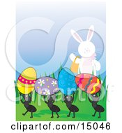 Cute White Easter Bunny Carrying A Basket And Waving To A Row Of Four Ants Carrying Away Colorful Eggs