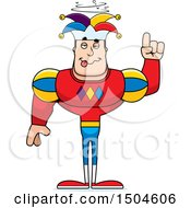 Clipart Of A Drunk Buff Caucasian Male Jester Royalty Free Vector Illustration