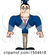 Clipart Of A Bored Buff Caucasian Male Teacher Royalty Free Vector Illustration