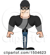 Clipart Of A Bored Buff Caucasian Male Robber Royalty Free Vector Illustration