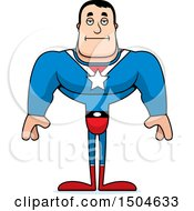 Clipart Of A Bored Buff Caucasian Male Super Hero Royalty Free Vector Illustration