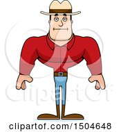 Clipart Of A Bored Buff Caucasian Male Cowboy Royalty Free Vector Illustration