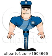Clipart Of A Bored Buff Caucasian Male Police Officer Royalty Free Vector Illustration