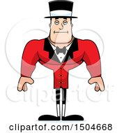Clipart Of A Bored Buff Caucasian Male Circus Ringmaster Royalty Free Vector Illustration