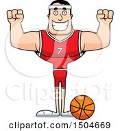 Poster, Art Print Of Cheering Buff Caucasian Male Basketball Player