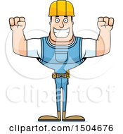 Clipart Of A Cheering Buff Caucasian Male Construction Worker Royalty Free Vector Illustration