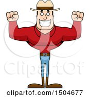 Clipart Of A Cheering Buff Caucasian Male Cowboy Royalty Free Vector Illustration
