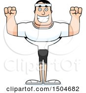 Clipart Of A Cheering Buff Caucasian Male Fitness Guy Royalty Free Vector Illustration by Cory Thoman