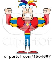 Clipart Of A Cheering Buff Caucasian Male Jester Royalty Free Vector Illustration