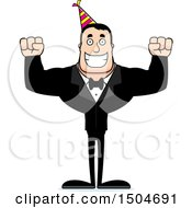 Clipart Of A Cheering Buff Caucasian Party Man Royalty Free Vector Illustration