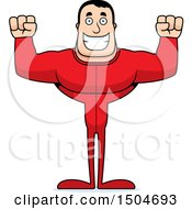 Clipart Of A Cheering Buff Caucasian Male In Pjs Royalty Free Vector Illustration by Cory Thoman