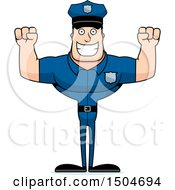Clipart Of A Cheering Buff Caucasian Male Police Officer Royalty Free Vector Illustration