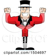 Clipart Of A Cheering Buff Caucasian Male Circus Ringmaster Royalty Free Vector Illustration