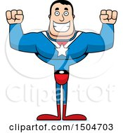 Clipart Of A Cheering Buff Caucasian Male Super Hero Royalty Free Vector Illustration
