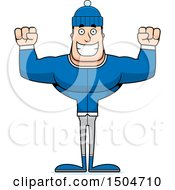 Clipart Of A Cheering Buff Caucasian Man In Winter Apparel Royalty Free Vector Illustration