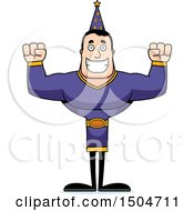 Clipart Of A Cheering Buff Caucasian Male Wizard Royalty Free Vector Illustration