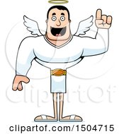 Clipart Of A Buff Caucasian Male Angel With An Idea Royalty Free Vector Illustration
