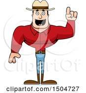 Clipart Of A Buff Caucasian Male Cowboy With An Idea Royalty Free Vector Illustration