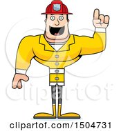 Clipart Of A Buff Caucasian Male With An Idea Royalty Free Vector Illustration