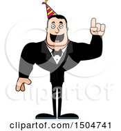 Clipart Of A Buff Caucasian Party Man With An Idea Royalty Free Vector Illustration
