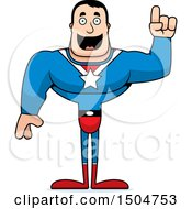 Clipart Of A Buff Caucasian Male Super Hero With An Idea Royalty Free Vector Illustration