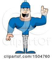 Clipart Of A Buff Caucasian Man In Winter Apparel Holding Up A Finger Royalty Free Vector Illustration