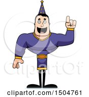 Clipart Of A Buff Caucasian Male Wizard With An Idea Royalty Free Vector Illustration