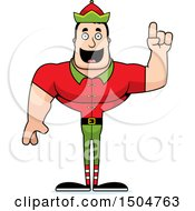 Buff Caucasian Male Christmas Elf With An Idea