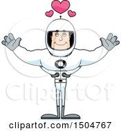 Buff Caucasian Male Astronaut With Open Arms