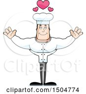 Clipart Of A Buff Caucasian Male Chef With Open Arms Royalty Free Vector Illustration