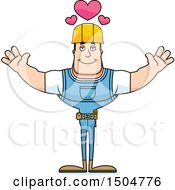 Buff Caucasian Male Construction Worker With Open Arms