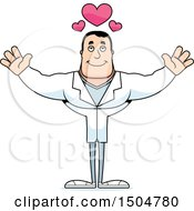 Clipart Of A Buff Caucasian Male Doctor With Open Arms Royalty Free Vector Illustration