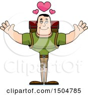 Buff Caucasian Male Hiker With Hearts And Open Arms