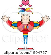 Buff Caucasian Male Jester With Open Arms And Hearts