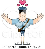 Buff Caucasian Male Postal Worker With Open Arms And Hearts