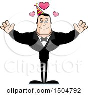 Clipart Of A Buff Caucasian Party Man With Open Arms And Hearts Royalty Free Vector Illustration