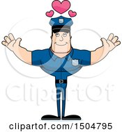 Buff Caucasian Male Police Officer With Hearts And Open Arms