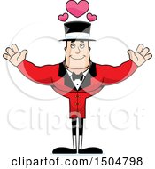 Buff Caucasian Male Circus Ringmaster With Open Arms And Hearts