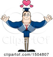 Clipart Of A Buff Caucasian Male Teacher With Hearts And Open Arms Royalty Free Vector Illustration