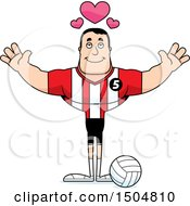 Buff Caucasian Male Volleyball Player With Hearts And Open Arms