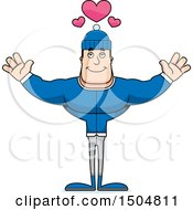 Buff Caucasian Man In Winter Apparel With Open Arms And Hearts