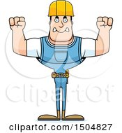 Clipart Of A Mad Buff Caucasian Male Construction Worker Royalty Free Vector Illustration
