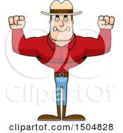 Clipart Of A Mad Buff Caucasian Male Cowboy Royalty Free Vector Illustration
