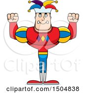 Clipart Of A Mad Buff Caucasian Male Jester Royalty Free Vector Illustration